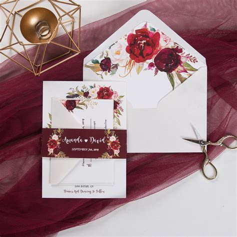 cheap boho burgundy floral and feather wedding invitation