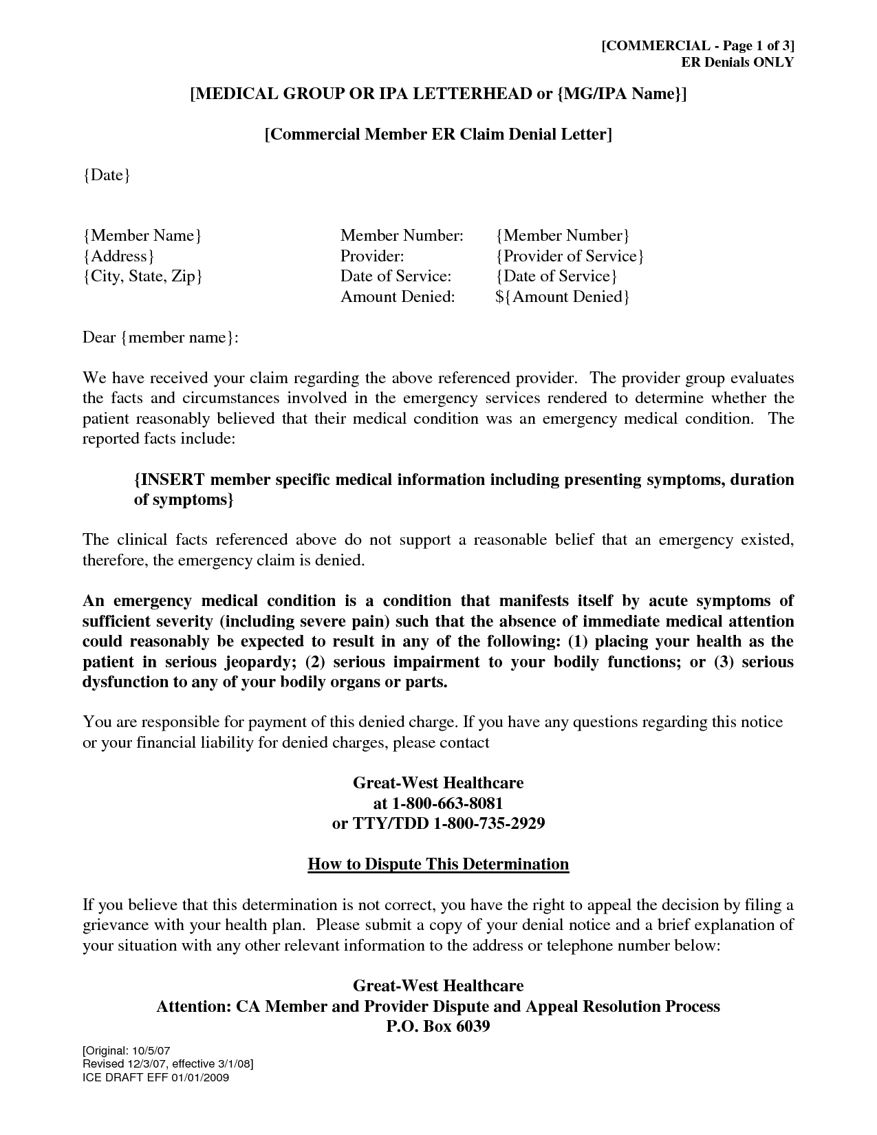 Denial Of Claim Letter - Free Printable Documents