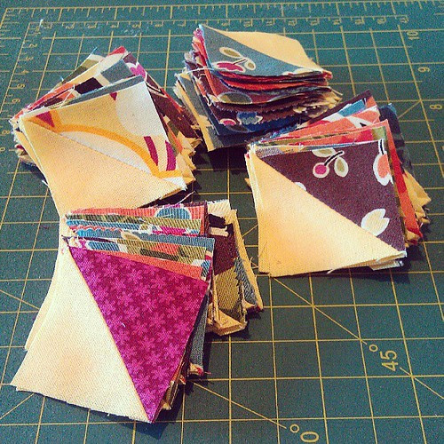 Buttercup HST cutoffs. Teeny tiny! #SCQuilters