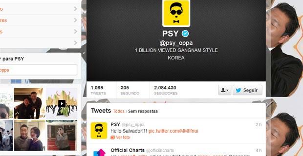 """Cantor Psy postou foto no Twitter na chegada à Bahia: """"Hello Salvador"""" (Foto: Reprodução/Twitter)"""