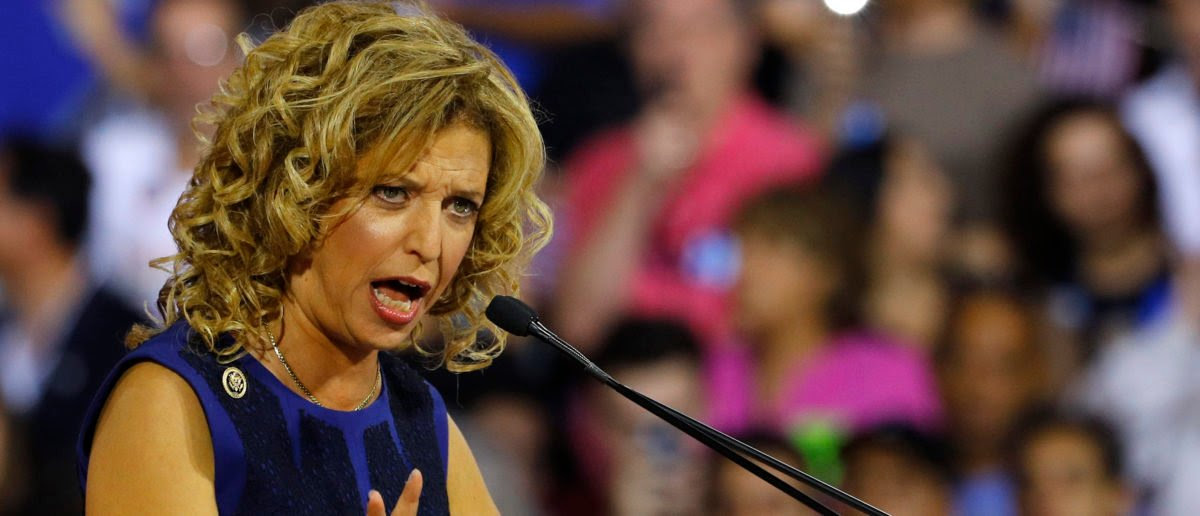 Rep. Debbie Wasserman Schultz speaks at a rally, before the arrival of Hillary Clinton in Miami. REUTERS/Scott Audette.