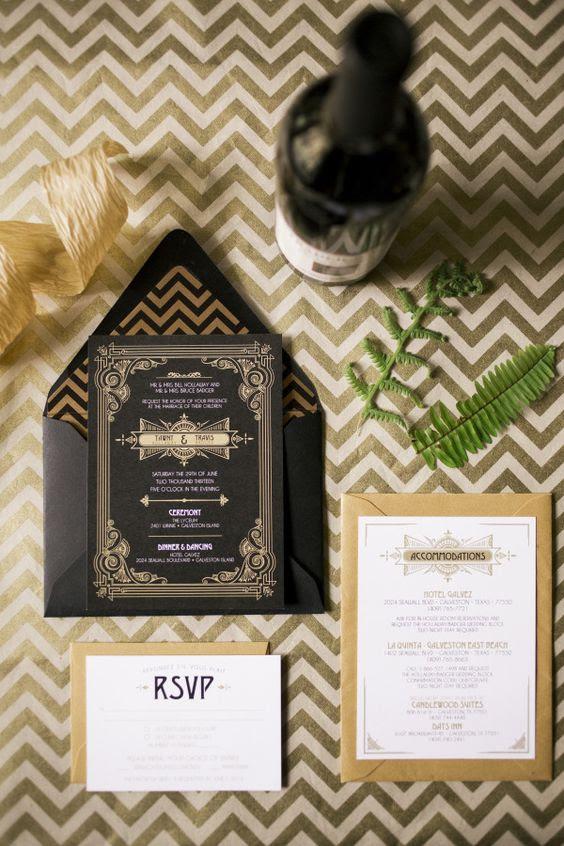 schwarz und gold-Hochzeits-Einladung für eine Gatsby-themed Hochzeit