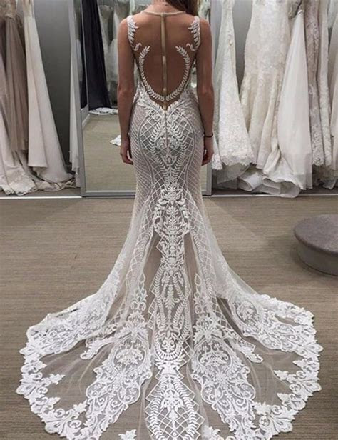 Fabulous Jewel Sleeveless Sheath Lace Wedding Dress with