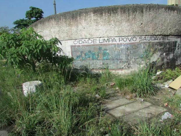 G1 Lixo E Mato Alto Contrastam Com Frase Em Muro De São Vicente