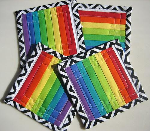 Backs of rainbow coasters