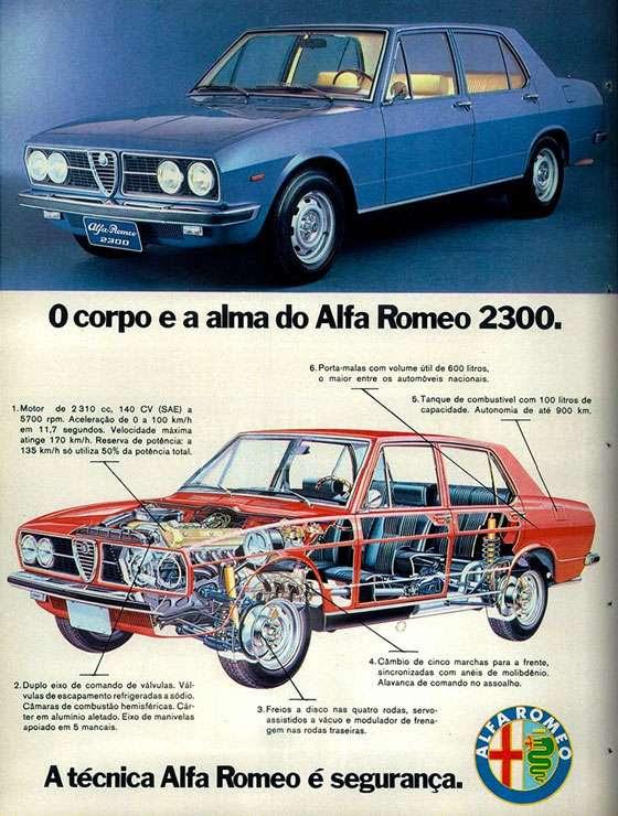 O corpo e a alma do Alfa Romeo 2300. 1. Motor de 2310 cc, 140 CV (SAE) a 5700 rpm. Aceleração de 0 a 100 km/h em 11,7 segundos. Velocidade máxima atinge 170 km/h. Reserva de potência: a 135 km/h, só utiliza 50% da potência total. 2. Duplo eixo de comando de válvulas. Válvulas de escapamento refrigeradas a sódio. Câmaras de combustão hemisféricas. Cárter em alumínio aletado. Eixo de manivelas apoiado em 5 mancais. 3. Freios a disco nas quatro rodas, servo-assistidos a vácuo e modulador de frenagem nas rodas traseiras. 4. Câmbio de cinco marchas para a frente, sincronizadas com anéis de molibdênio. Alavanca de comando no assoalho. 5. Tanque de combustível com 100 litros de capacidade. Autonomia de até 900 km. 6. Porta-malas com volume útil de 600 litros, o maior entre os automóveis nacionais. A técnica Alfa Romeo é segurança.