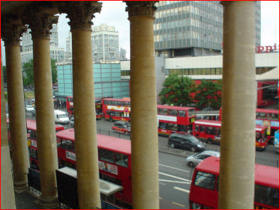 Buses queuing at Elephant & Castle