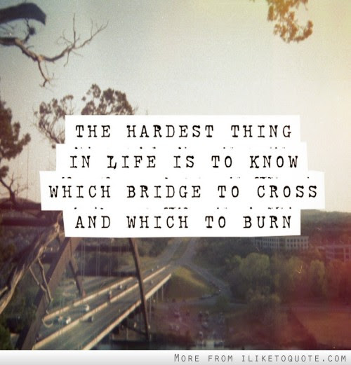 The Hardest Thing In Life Is To Know Which Bridge To Cross And Which