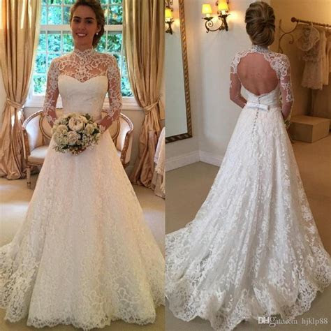 2016 Vintage Full Lace Wedding Dresses Long Sleeve