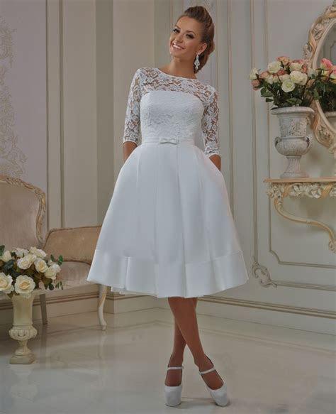 Elegant Lace Sleeve Short Wedding Dresses 2016 Scoop Neck