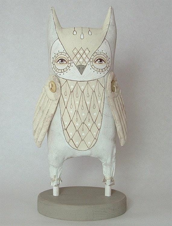 White Owl-- Original Contemporary Folk Art Doll-- Made to Order