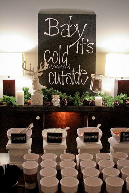 "Hot Beverage Station at Reception, if i get married in the winter. but i want the ""baby its cold outside"" sign i pinned in home comforts"