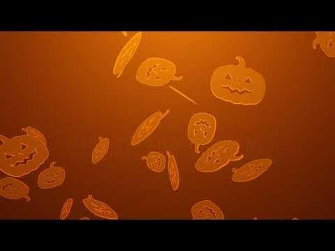 4K Spooky Halloween Pumpkins Falling Down Pumpkin Rain Animation Holiday Background