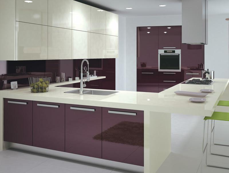 Purple High Glossy Kitchen Design Ipc408 - High Gloss Kitchen ...