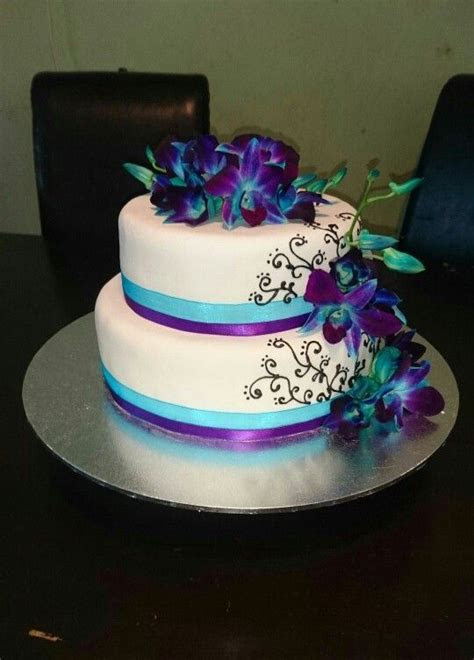 Blue and purple orchids wedding cake   my yummy creations