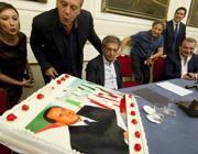 Mara Carfagna e Francesco Nitto Palma durante la manifestazione di Forza Italia a Napoli, con il collegamento audio con Silvio Berlusconi e la torta per il suo 77eso,p compleanno (Ansa/Fusco)