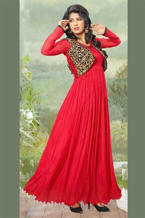 Red Designer Anarkali Gown style Salwar Suit with Koti