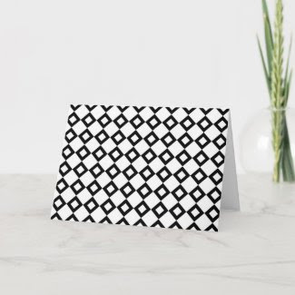 White and Black Diamond Pattern Greeting Cards