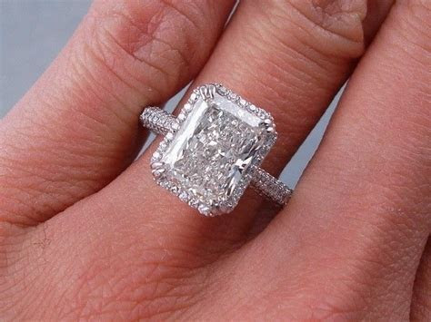 3.50 carats ct tw radiant cut diamond engagement ring h