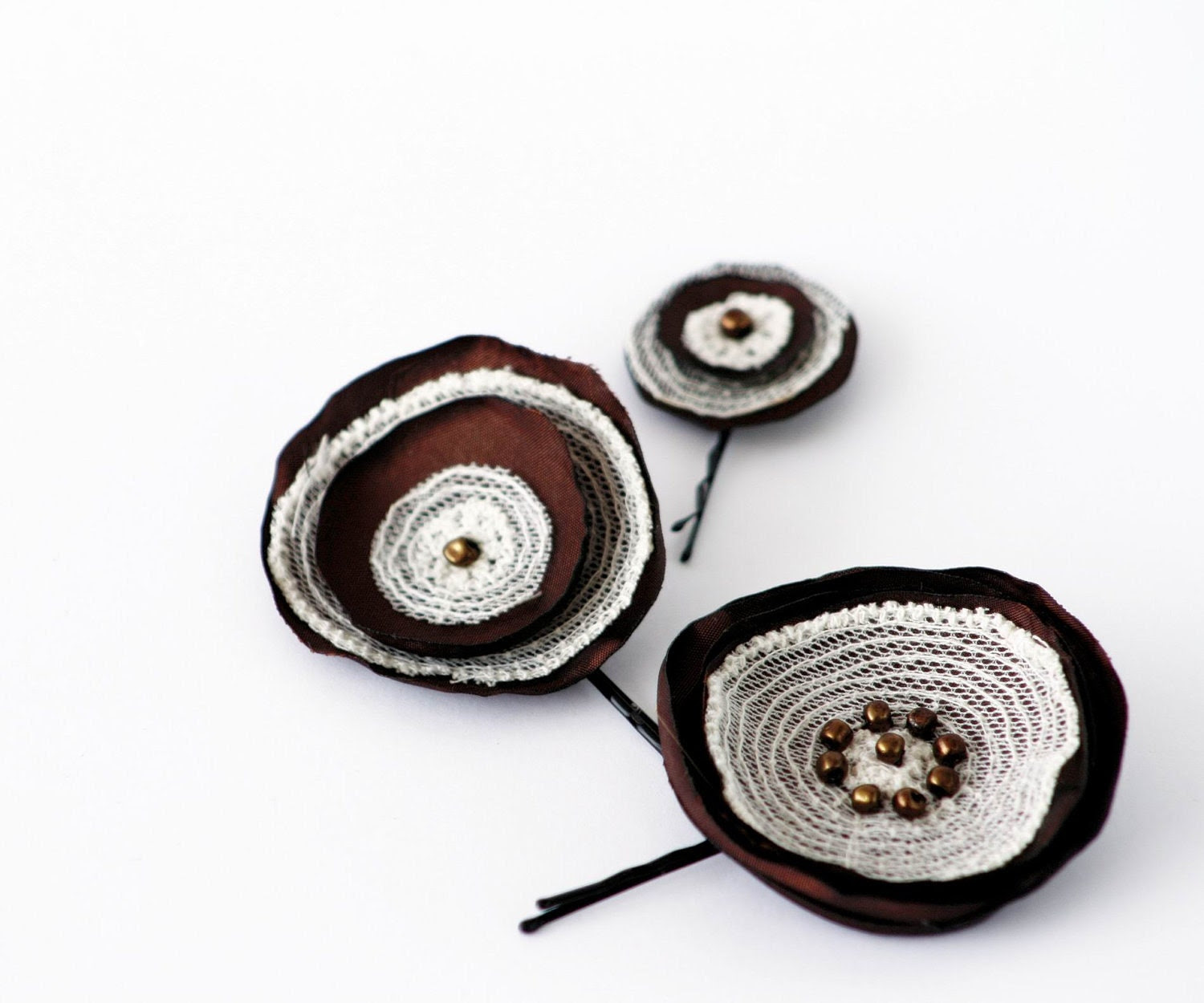 Cholatate Brown Off  White Lace Hand Made Flowers Bobby Pins Set of 3 - MishMashStore