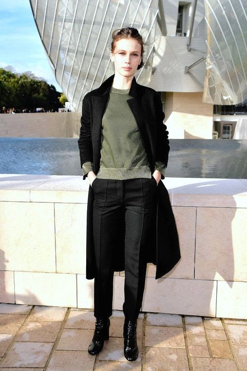 Le Fashion Blog Marine Vacth Paris Style Metallic Green Knit Black Coat Pants Louis Vuitton SS 2016 Front Row photo Le-Fashion-Blog-Marine-Vacth-Paris-Style-Metallic-Green-Knit-Black-Coat-Pants-Louis-Vuitton-SS-2016-Front-Row.jpg