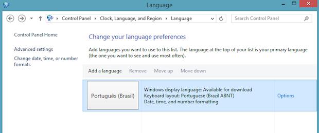 Configurações de idioma (Foto: Reprodução/Helito Bijora)