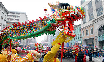 A dragon dances down H Street in Chinatown during an annual Chinese New Year celebration.