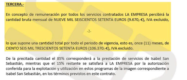 Detalle del contrato firmado entre Telemadrid y Leiggy SL, sociedad de la que Isabel San Sebastián era administradora única
