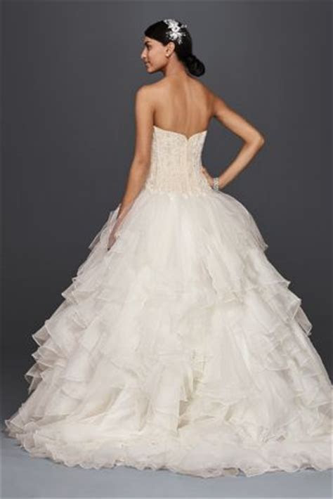 Oleg Cassini Strapless Ruffled Skirt Wedding Dress   David
