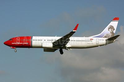 Norwegian Air Shuttle (Norwegian.com) Boeing 737-8JP WL LN-NIE (msn 39435) (Asta Nielsen) LGW (Terry Wade). Image: 911406.
