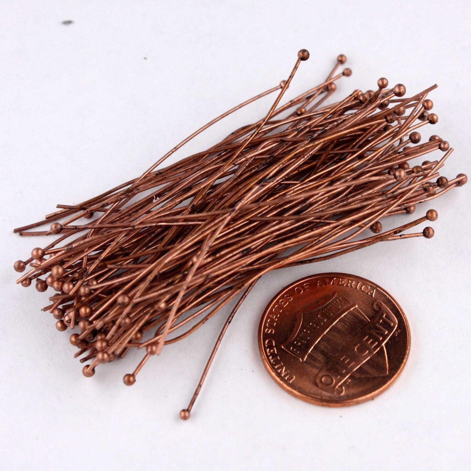100 pcs of VINTAGE Style Antique Copper Finished on Brass Ball end headpin - 24G - 2 inches - gemplus24