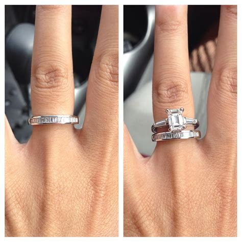 Baguette wedding band with emerald cut ring, id like