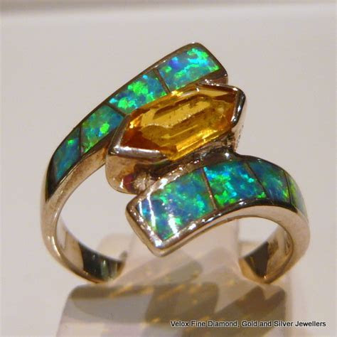 Green Opal and Yellow Topaz Crossover Sterling Silver Ring