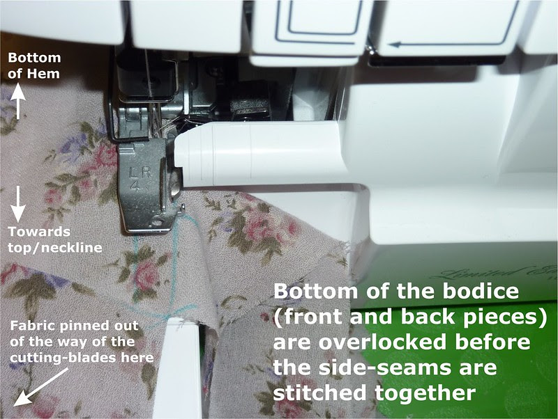 Overlocking the vents - pinning fabric out of the way of the blades