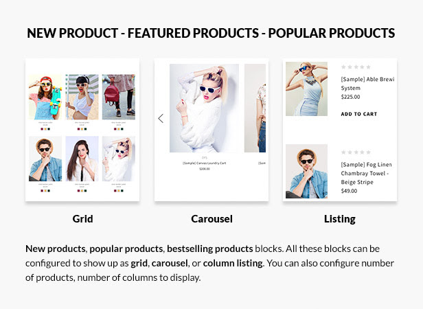 New products, featured products, bestselling products