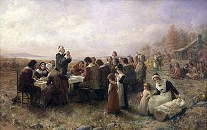 "English: ""The First Thanksgiving at Plymo..."