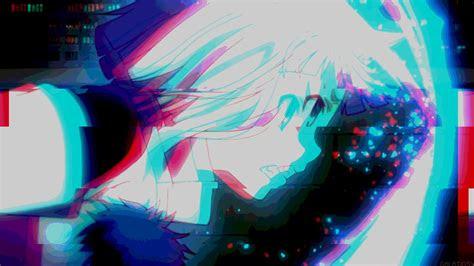 cute anime girl hd aesthetic glitch wallpaper