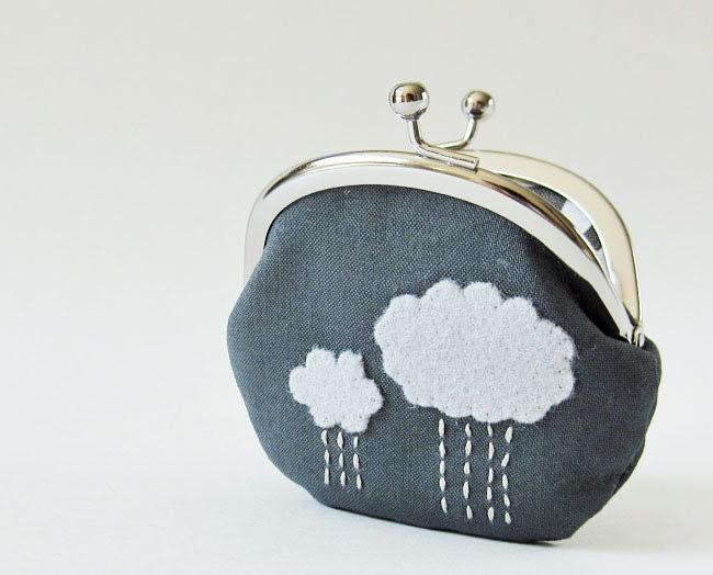 Coin purse rain clouds on charcoal - oktak