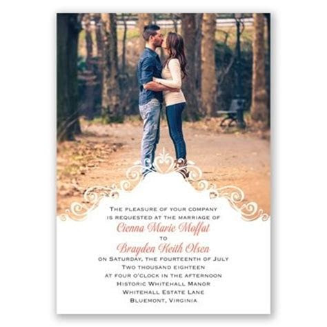 Filigree Crest Photo Wedding Invitation; available in 40