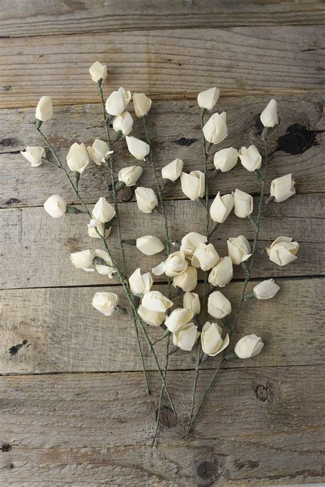 "Sola Flowers 5 Rose Bud Stems 14"""