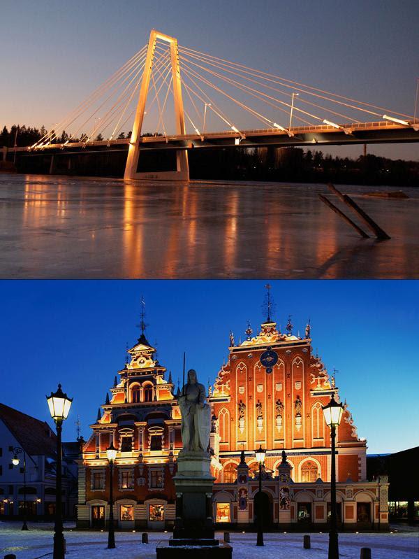 Imágenes de la localidad sueca Umeå (arriba) y de Riga, la capital letona © Vitorio Benedetti y BELGA/IMAGEBROKE/TPG.