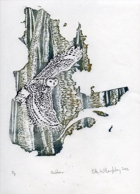 Québec, snowy owl, yellow birch linocut