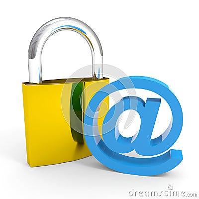Sinal Do Cadeado E Do EMAIL. Conceito Da Segurança Do Internet. Fotografia de Stock - Imagem: 23476492