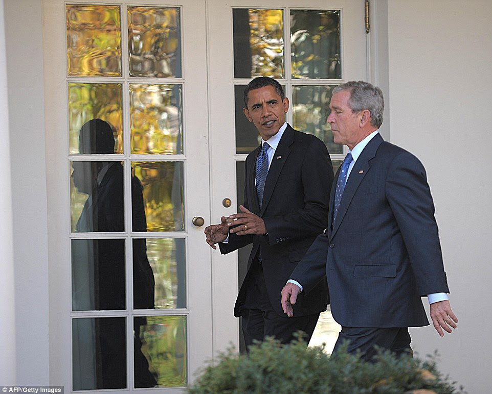 Obama and Bush chatted as they walked through the colonnade at the White House during their meeting eight years ago