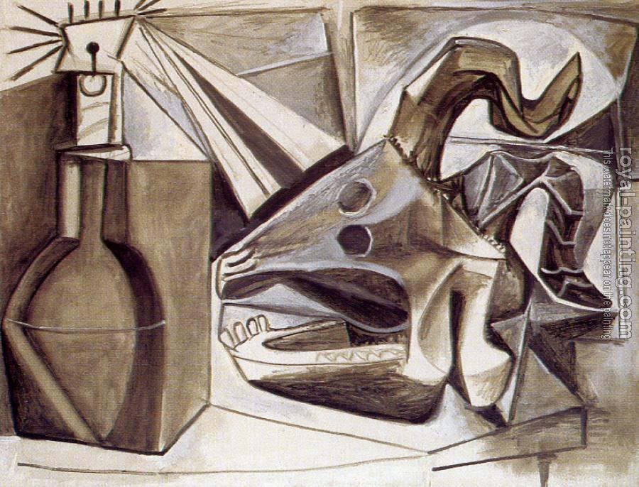 Pablo Picasso : goat's skull bottle and candle