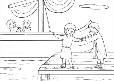 Dibujo De Jonás Se Marchó A Jope Y Encontró Un Barco Para Huir Del