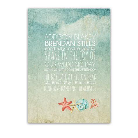 Beach Wedding Invitations Watercolor Starfish Seashell