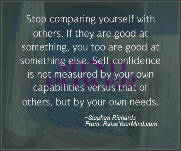 Stop Comparing Yourself With Others If They Are Good At Something