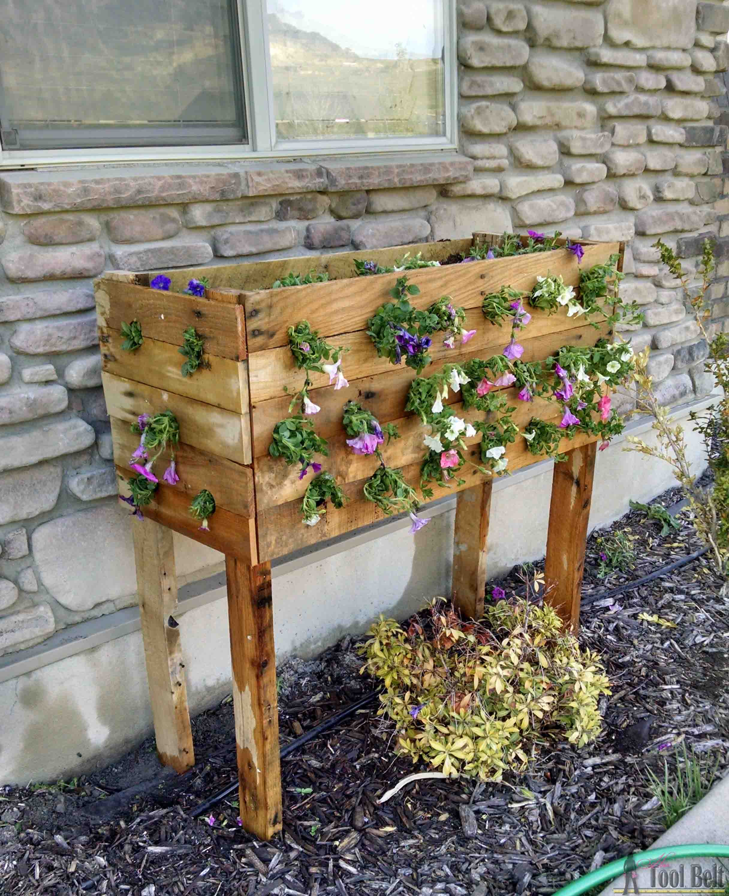 Check out these flowers - DIY pallet planter box for those amazing cascading flower baskets.