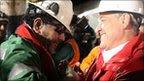 Chilean miner Luis Urzua and President Sebastian Pinera at the mine (14 Oct 2010)